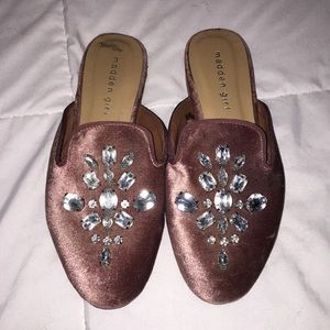 Dusty pink suede loafers